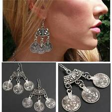 1Pair Bohemian Curved Top Silver Coin Earrings Beach Ethnic Tribal Jewelry Gypsy