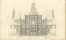 Stampa antica PAVIA Veduta Certosa di Pavia Lombardia 1845 Old antique print