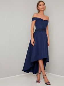 Chi Chi London Occasion Evening Party Cocktail Bardot Dip Hem Midi Dress 16 Navy