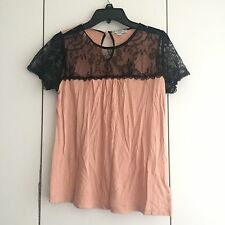 Womens Cotton On Pastel Peach And Black Lace Shirt Sleeve Knit Top Size XS EUC