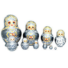 """Russian Hand Painted Silver Nesting Dolls Set of 10, Artist signed, 5.5"""""""