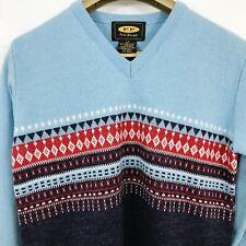 Free People Women's Sweater S Blue Red Nordic Pattern Long Sleeves Wool Blend