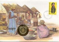 superbe enveloppe GUINEE GUINEA pièce monnaie 10 FRANCS 1985 NEUF UNC NEW TIMBRE