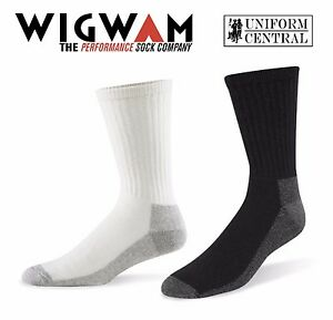 Wigwan Work Crew Cotton Midweight Socks 3-Pack White or Black - All Sizes