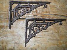4 Cast Iron Antique Style Art Deco Brackets, Garden Braces Shelf Bracket