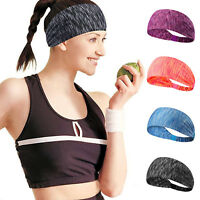 Unisex Wide Sports Headband Sweatband Hair Bands Wrap Stretch Cotton Yoga Gym