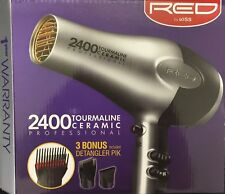 RED BY KISS TOURMALINE CERAMIC 2400 HAIR BLOW DRYER W/3 ATTACHMENTS #BD05N