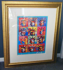 Unique Mixed Media Signed Peter Max Painting Liberty and Justice For All COA