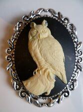 Stunning Black & Cream Owl Cameo Brooch Wedding Pin Pagan Gothic