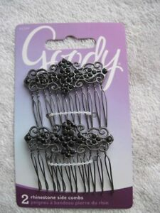 Goody Luxe Cecilia Side Combs Fancy Black Rhinestones Swirls Open Teeth Metal 09
