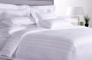 LUXURY HOTEL QUALITY BEDDING SET WHITE STRIPE 400TC DUVET COVER & PILLOWCASE UK