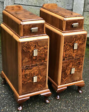 AMAZING PAIR OF WALNUT ART DECO BEDSIDE CHESTS DELIVERY AVAILABLE
