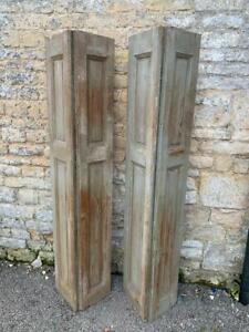VINTAGE WOODEN BI FOLDING SHUTTERS 176 CM PINE tall  WALL CLADDING  PANELLING