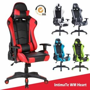 Racing Gaming Computer Office Chair Adjustable Swivel Recliner Leather (-70%)🔥✅