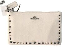 COACH Women's Small Wristlet with Prairie Rivets Chalk Brand New With Tags