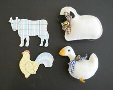 Lot of 4 Decorative Animal Kitchen Refrigerator Magnets