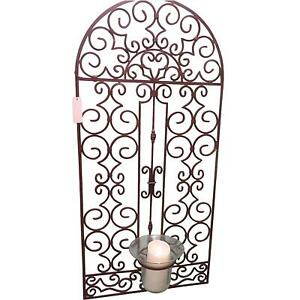 Extra Large 50 in Iron Scroll Arch Gate Wall Panel Candle Holder Plaque Grille