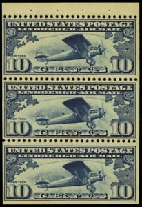 C10a, Mint VF NH 10¢ Lindbergh Booklet Pane Cat $115.00 - Stuart Katz