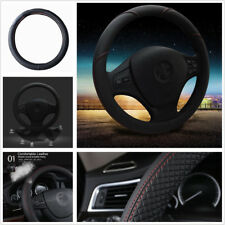 Black & Red Stitching PU Leather 38cm Durable Anti-Slip Car Steering Wheel Cover