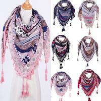 Fashion Women Winter Autumn Floral Print Scarf Tassel Shawl Scarf Cotton Scarves