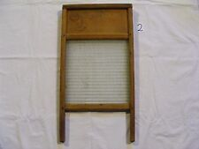 (2) VINTAGE STANDARD FAMILY SIZE WOOD AND GLASS WASHBOARD - No: 2080