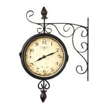 Wanduhr Bahnhofsuhr Antik mit 2 Uhrwerken zweiseitig braun Metall 43 cm Pajoma N