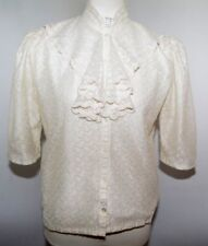 VTG White Lace Button Up Ruffle Gem Glittery Blouse Top Puffy Sleeves Womens M