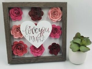 Shadow Box Paper Flower Gift for Mom