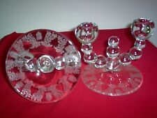 Vintage Paden City Crystal Gazebo Nine ball Double Candleholders - Pair - Mint