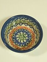 Made in Poland Unikat Pottery Bowl Blue Flowers Bows Vena Factory Small Dish NWT