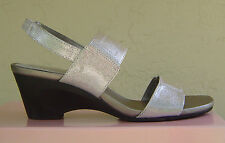 NEW BANDOLINO SILVER TEXTILE WEDGE SANDALS SIZE 8 M $59