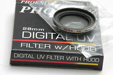 28mm UV w Hood - Photo Filter - Protect Lens - Phoenix 06-370 - Japan - NEW G6