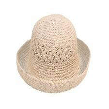Ladies Straw Style Crushable Summer Sun Hat Turn up Brim 2 Colours Natural