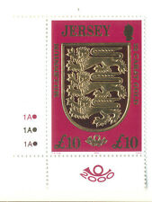 Jersey Crest £10.00 value-mnh gold embossing plate copy