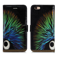 Leather Wallet Flip Book Phone Card Holder Pouch Fone Case for Apple iPhone 5 5g Funky Hedgehog - Cosmic Bright Colour Color Spike