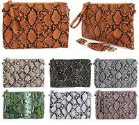 Faux Leather Mock Snake Skin Print Clutch Detachable Wristlet Shoulder Strap Bag