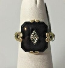ART DECO 2-TONE YELLOW GOLD ONYX & DIAMOND RING SIZE 5