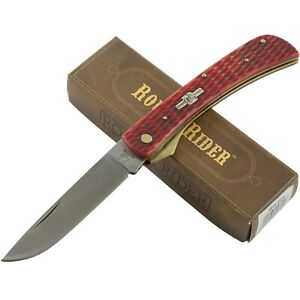 Rough Rider Red Jigged Handles Work Folding Pocket Knife RR304 Drop Point Blade