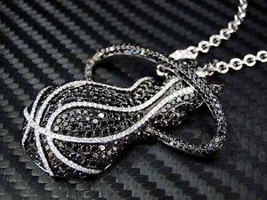 14K White Gold Miami Heat Diamond Pendant Charm Necklace Chain Basketball NBA