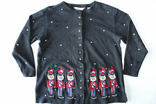 UGLY CHRISTMAS SWEATER Toy Soldiers Snowflakes Petite Medium Button Cardigan