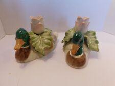 Vintage Pair Fitz and Floyd Mallard Ducks Rose Candle Stick Holder