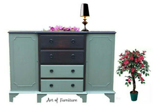 Green Mahogany Rustic Sideboard, TV Stand, Cabinet hand painted Upcycled