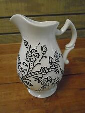 Oleg Cassini  White Ava Footed Pitcher New 60 oz Floral Design Black