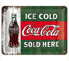 A5 Retro Tin Metal Embossed Sign 'COCA-COLA' 15x20cm Licensed Product Green COKE