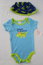 NEW Baby Boys 2 pc Set 0 - 3 Months Bodysuit Sun Hat Outfit Later Alligator Blue