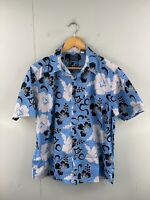 Pineapple Connection Men's Vintage Short Sleeve Hawaiian Shirt Size L Blue