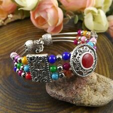 Tibetan Silver Jewelry Beads Bracelet Three Layers Turquoise Retro Style Chains