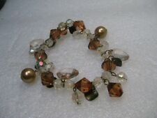 "Dangle Beaded Bracelet, Stretch 8"", Brown, Clear, A.B. Beads Boho"