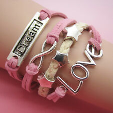 NEW Jewelry fashion Leather Cute love Charm Bracelet Silver lots Style SL02