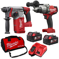 Milwaukee 18V Fuel Cordless M18 SDS Plus Brushless Rotary Hammer Drill Combo Kit